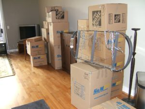 Moving boxes in empty house