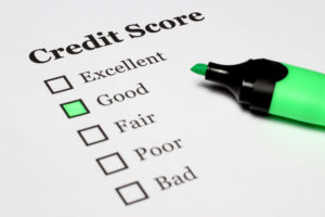 Image of a credit score rating scale to illustrate credit score upkeep.