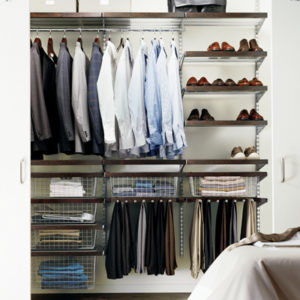 Photo of a well organized closet to illustrate how closet staging is important while getting a home market ready.