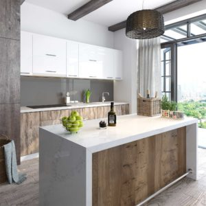 Photo of a modern kitchen with quartz countertops for an article about top kitchen and bath design trends for 2017.