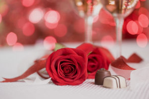 Photo of a Valentine's Day tabletop for an article on the best romantic restaurants.