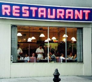 Photo of the front of the Seinfeld Restaurant for an article about local restaurants taking part in restaurant week.