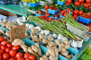 Photo of vegetables for an article about local farmer's markets.