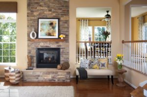 Fireplace and living room for an article about bad homeowner habits.