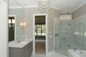 Photo of a gray bathroom for an article about farmhouse gray.