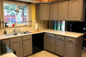 Photo of kitchen cabinets for an article about painting cabinets.
