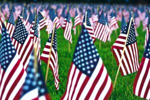 Photo of American flags for an article listing 4th of July weekend activities.