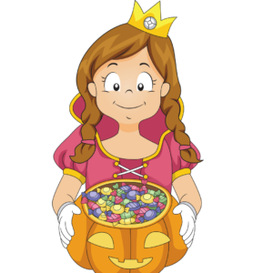 Illustration of a princess handing out candy for an article about trick or treating hours.