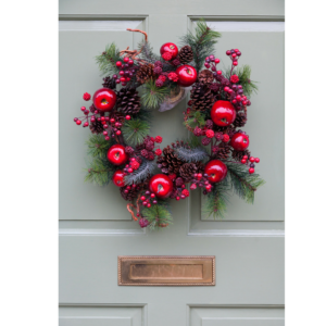 Photo of a front door with a wreath on it for an article about the color of a front door and what it says about the homeowner.