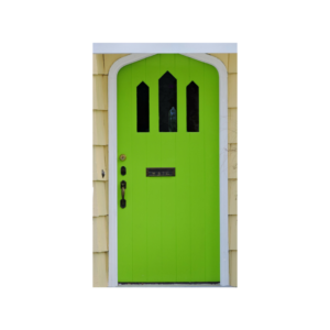 Photo of a green front door.