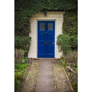 Photo of a blue front door.