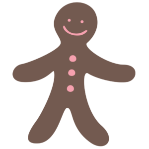 Graphic of a gingerbread man for an article about the Plainfield Candlelight Christmas.