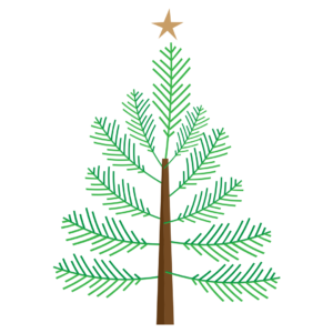 Graphic of a Christmas tree for an article about the Plainfield Candlelight Christmas.