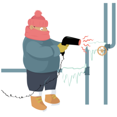 Illustration of a man using a hair dryer to thaw frozen pipes for an article about preventing frozen pipes.