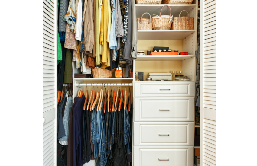 Photo of a clean and organized closet for a post about clearing clutter from the home.