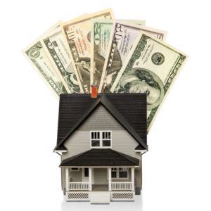 Photo of a house and cash for an article about down payments.